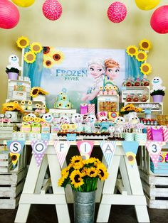 FROZEN FEVER Party!!!! Sofia's Party! Candy bar And Sweet treats! Enjoy it!