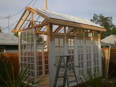 Backyard Garden Shed Old Windows 39 Ideas Shed Windows, Windows And Doors, Garden Structures, Outdoor Structures, Diy Greenhouse, Old Window Greenhouse, Potting Sheds, Old Doors, French Doors