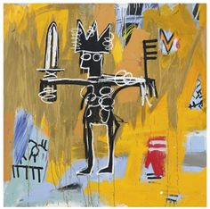 Jean-Michel Basquiat (American, 1960-1988), Untitled (Julius Caesar on Gold), 1981. Gold paint, acrylic and oilstick on canvas, 50 x 50 inch.