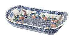 Polish Pottery Garden Butterfly Extra Large Rectangular Serving Tray with Handles * Learn more by visiting the image link.