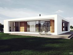 Amusing One Story Flat Roof House Plans Pictures - Ideas house design - younglove. Residential Architecture, Contemporary Architecture, Architecture Design, Facade Design, Modern Contemporary, Flat Roof House, Facade House, House Facades, Modern House Plans