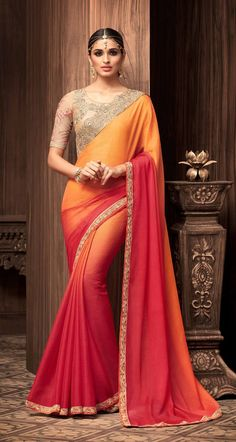 dd367fe225355e 34 Great Sarees images   Georgette sarees, Hand lettering, Hand prints