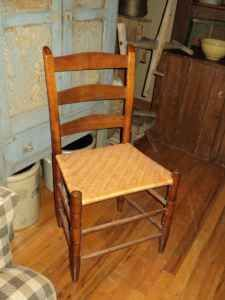 Antique primitive rush seat chair  I have similar chair that my dad restored. This one is a woven seat different from the cane seat chairs he also restored.