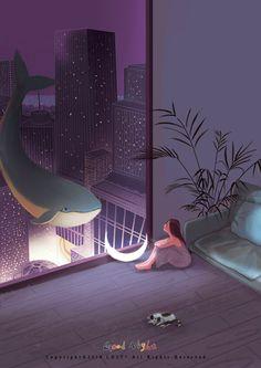 Fish Night, only it wasn't from Love, Death + Robots Aesthetic Art, Aesthetic Anime, Illustrations, Illustration Art, Couple Wallpaper, Anime Scenery, Anime Couples, Good Night, Art Girl
