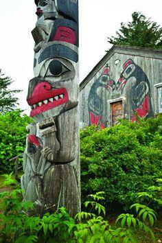 Totems and lodge painting, Masset, Haida Gwaii, BC