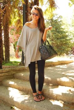 Oversized shirt with leggings, sandals, and a cute bag.