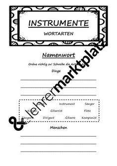 Instrumente - Wortartenkatalog – Unterrichtsmaterial in den Fächern DaZ/DaF & Deutsch Symbols, Letters, Sentence Building, Conductors, Play Based Learning, Grammar, Catalog, Deutsch, Icons