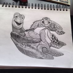 Crush and Squirt from Finding Nemo sketch by Madison Shimizu. Disney Sketches, Disney Drawings, Cartoon Drawings, Animal Drawings, Art Sketches, Art Drawings, Disney Inspired Tattoos, Disney Tattoos, Baby Tattoos