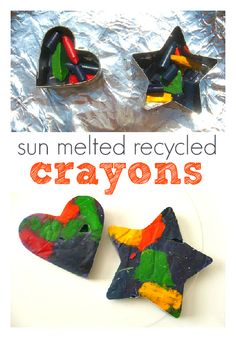 Sun Melted recycled crayons ~ I am going to try using the cookie cutters in the oven instead of a mold. I have tons of cookie cutters. On the next hot day I will try using solar power to do the melting! Great gift for child, & explain recycling. Summer Crafts, Summer Fun, Fun Crafts, Crafts For Kids, Arts And Crafts, Colorful Crafts, Free Summer, Summer Activities, Activities For Kids