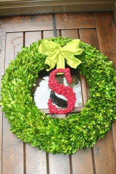 Christmas Holly Berry Door monogram Wreath