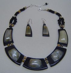 Horn Necklace  jewelry in Black, White - Material: Horn -  - $9 -- Features: Horn Necklace and earring set #Necklace #Necklaces #Fashion #Jewelry #Jewels #Jewellery