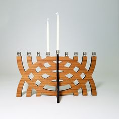 Intersecting Arcs Menorah Hanukkah Chanukah Wood by GioGioDesign Hanukkah Menorah, Hanukkah Gifts, Hannukah, Candle Cups, Candle Stand, Hanukkah Decorations, Jewish Gifts, Linseed Oil, Festival Lights