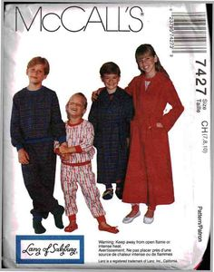 McCall's Sewing Pattern 7427 Boys' / Girls' Robe, Belt, Pullover Pajama Top, Pull-on Pants Size: CH 7-8-10 Uncut