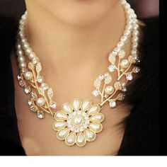 Colares Femininos Simulated Pearl Necklace for Women Fashion Gold Beads Choker Necklaces Statement Jewelry 2016 collier femme