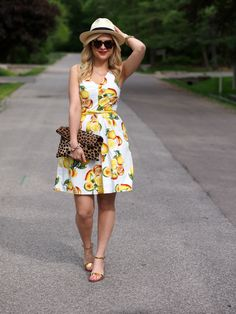 Leopard Clare Vivier clutch with lemon sundress -- all about summer