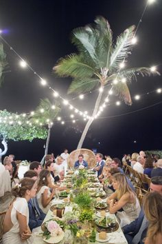 The dinner table was lit overhead by lights