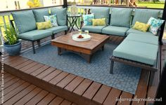 Stenciling an Outdoor Patio Rug | Project by Infarrantly Creative using the Hollywood Squares Stencil by Royal Design Studio