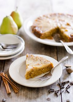 Pear Upside Down Cake. Sooooo moist and scrumptious.