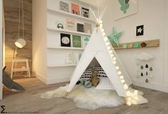 Tipi tent by ELEMENTY with some cool interiors ideal for your girls room #kidsroom #homify