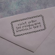 handwritten return address -- its a stamp but you could write it to make it look like this. too cute!