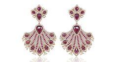 Sutra's 18-karat gold drop earrings feature diamonds and rubies ($22,000).