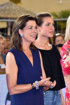 Caroline de Hanovre et sa fille Charlotte Casiraghi lors de la Pro Am Cup lors du Jumping...