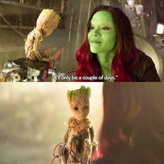 Baby Groot and Gamora #guardiansofthegalaxy2