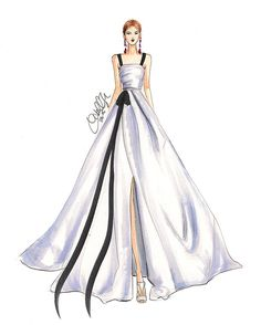Shop ready-to-buy fashion prints or contact to hire for corporate/commercial illustrations. Fashion Design Drawings, Fashion Sketches, Fashion Illustration Dresses, Fashion Illustrations, Wedding Dress Sketches, Arte Fashion, Illustration Mode, Festa Party, Dress Drawing