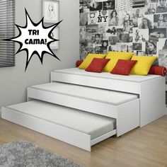 Three sofas/single beds in one. Small spaces--great ideas for a spare room, a guest room and slumber parties. Small Space Living, Small Rooms, Small Apartments, Small Spaces, Girls Bedroom, Bedroom Decor, Bedrooms, Room Girls, Bedroom Furniture