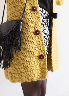 Mustard Crochet Kimono Jacket for Women PDF in English image 2 Pull Crochet, Crochet Cardigan Pattern, Crochet Jacket, Crochet Poncho, Cardigans For Women, Jackets For Women, Diy Crochet Projects, Fashion Mode, Kimono Jacket