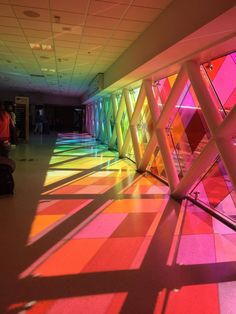A rainbow walkway at Miami International Airport Find out when. Rainbow Aesthetic, Aesthetic Colors, Aesthetic Photo, Aesthetic Girl, Aesthetic Pictures, Image Bleu, Miami Airport, Pathways, Wall Collage