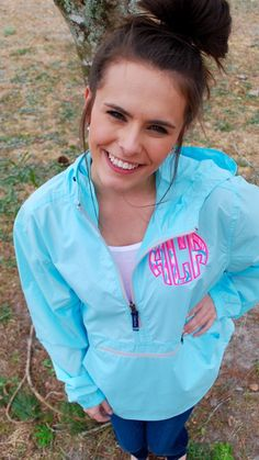 Aqua Preppy Charles River Pack N Go Pullover Wind Jacket with Lilly Pulitzer  Monogram Rain Jacket by TantrumEmbroidery on Etsy