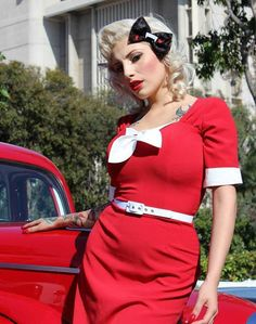 In stock  red pinup girl dress Gwen rockabilly clothing 1940s style soft stretch tropical weight on Etsy, $110.00