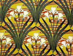 Art Nouveau textile design of lillies, by Felix Aubert (1866-1940) 1897 (printed cotton), The Design Library | JV