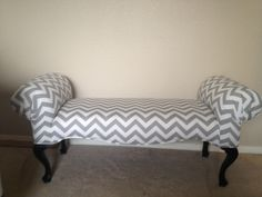Love my newly upholstered bench will go great in my gray and yellow bedroom!