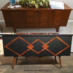 Mid Century Modern Makeover Lane Cedar Chest  Painted Furniture  General Finishes Lamp Black Frog Tape   thatFLIPPINFURNITUREgirl