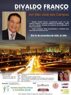 Divaldo Franco em São José dos Campos, SP - http://www.agendaespiritabrasil.com.br/2015/10/21/divaldo-franco-em-sao-jose-dos-campos-sp-2/