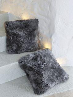 Interiors | Accessories | Nordic Style | Luxurious Sheepskin Cushion - Grey
