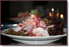 Forrett: Ceviche av torsk, laks og reker