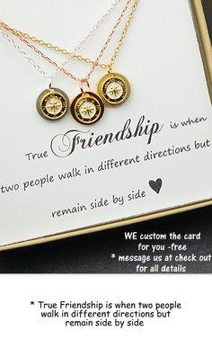 Beste Freund Geschenk, Rose gold Compass Collier, besten Freund Halskette, Halskette Freundschaft, BFF Geschenk, Freundschaft Geschenk, Kompass Schmuck, Charm Kompass