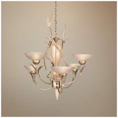 "Van Teal Almost Autumn 33""W Autumn Wood Silver Chandelier"