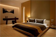 Japanese style bedroom. Looking for a similar bed? Try: http://www.naturalbedcompany.co.uk/product-category/japanese-beds/