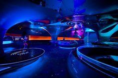 Futuristic Night Club, SOUND Phuket, Thailand, Futuristic Interior Design, Neon, Disco, Colorful, deep blue