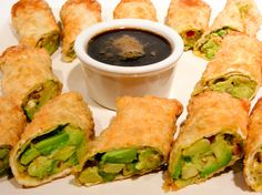 Get the best BJ's Restaurant & Brewhouse Avocado Egg Rolls recipe on the ORIGINAL copycat recipe website! Todd Wilbur shows you how to easily duplicate the taste of famous foods at home for less money than eating out. Gourmet Recipes, Appetizer Recipes, Vegetarian Recipes, Healthy Recipes, Fondue Recipes, Venison Recipes, Cooking Recipes, Hamburger Recipes, Yummy Recipes