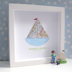 Beautiful Boys Boat Picture with Frame   Personalised Christening Pictures   Little Delivery