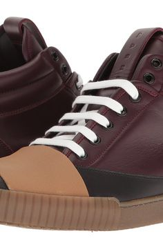 MARNI Banded High Top Sneaker (Black/Bordeaux) Men's Shoes - MARNI, Banded High Top Sneaker, M24WS0027-SY0368-968, Footwear Closed General, Closed Footwear, Closed Footwear, Footwear, Shoes, Gift - Outfit Ideas And Street Style 2017