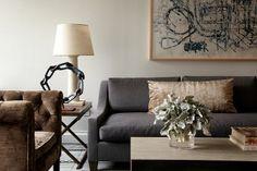 gray, white, beige living room.  James Huniford