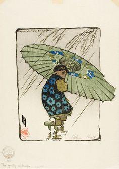 'The Family Umbrella', 1915  (color woodcut) - Helen Hyde