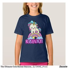 The Ultimate Cute Kawaii Unicorn Cat on Rainbow T-Shirt #Onmeprints #Zazzle #Zazzlemade #Zazzlestore #Zazzlestyle #Ultimate #Cute #Kawaii #Unicorn #Cat #Rainbow #TShirt Unicorn Cat, Children Clothing, Kawaii Fashion, Cute Designs, Cute Kids, Fitness Models, Kids Outfits, Rainbow, Casual