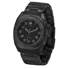 Here at The Mans Man we really like the look of the black on black watch. The MTM Falcon does not disappoint and has some pretty sweet features. The dots you see on the 12,4,and 8 are three white LED lights. They are the brightest lights ever offered on a watch. They can be turned on for a constant light or switched to strobe mode for emergencies. It comes in 4 different band options. Though the Titanium band is shown in the picture we prefer the rubber or the NATO band.Another great feature…